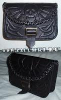 Кожаная сумка с черепом на ремень (hand made)