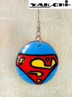 Комплект Superman. Серьги и футболка (hand made)