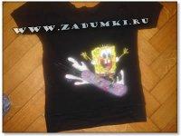 Губка Боб, квадратные штаны на футболке (hand made)