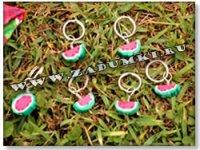 Арбузные брелки из пластика (hand made).