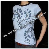 Цветочное дерево на футболке (hand made)