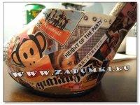 Туфли, декорированные журнальными вырезками (hand made).