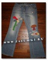 Апликации из лоскутков на джинсах (hand made)