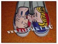 Кроссовки в стиле Поп-арт feat. Roy Lichtenstein: Kiss V (hand made).