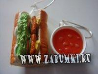 Серьги Бутер с томатным соком (hand made)