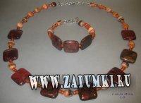 Комплект бусы и браслет из яшмы 750 рублей
