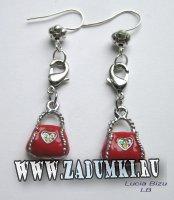 Серьги-шутки Красная сумочка 250 руб