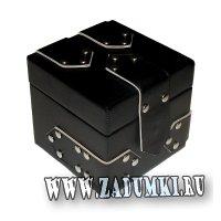 Шкатулка-коробок кожаная черная