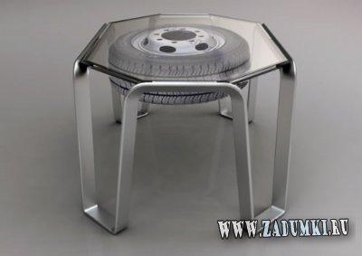 Два Столика из полированной стали и автомобильной шины