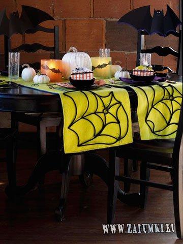 Салфетки на стол в виде паутины для Хэллоуина