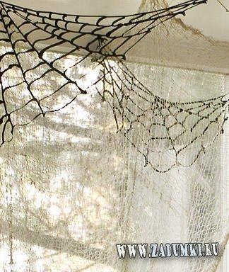 Паутина для украшения углов на потолках для Хэллоуина