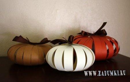 Бумажные тыквы в качестве осенней декорации