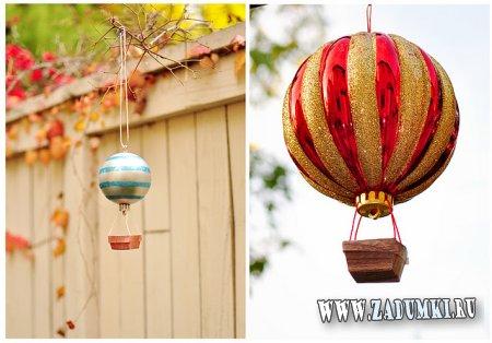 Забавный воздушный шар из обычной елочной игрушки