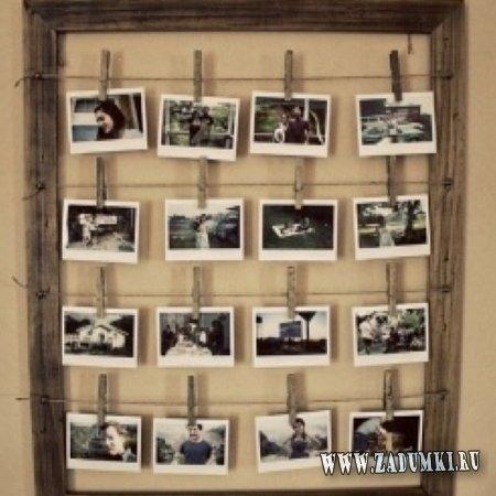 Инсталляция из фотографий с помощью бечевки и прищепок