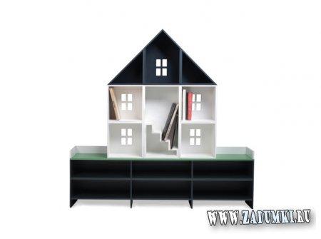 Модульная офисная мебель в виде дома в разрезе