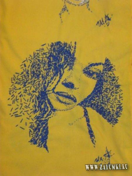 Вышивка Моника Беллучи (Monica Bellucci) на рубашке