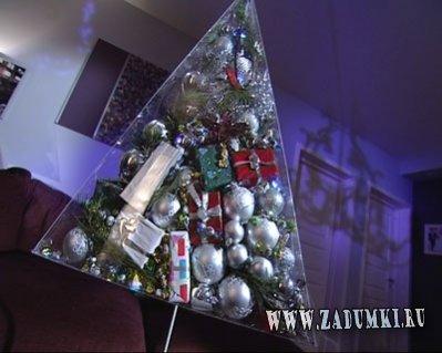 Модная елка в форме пирамиды с подарками
