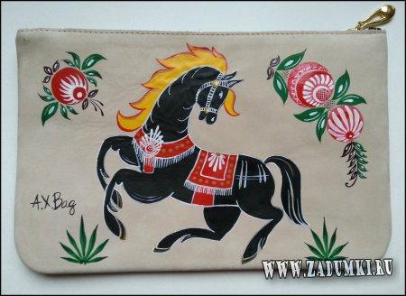 """Клатч из кожи - """"Лошади в народном творчестве"""""""